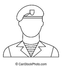 Modern army soldier icon, outline style - Modern army...