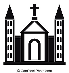 Christian catholic church building icon in simple style on a...
