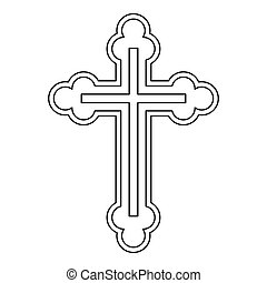 Crucifix icon in outline style on a white background vector...