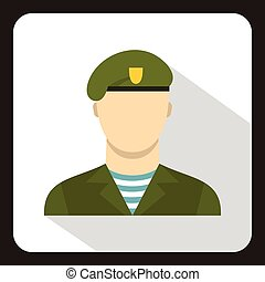 Modern army soldier icon, flat style - Modern army soldier...