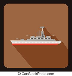Military warship icon, flat style - Military warship icon in...