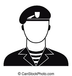 Modern army soldier icon, simple style - Modern army soldier...