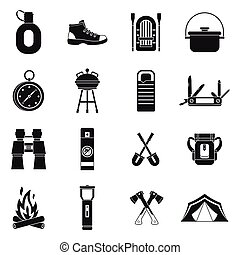Recreation tourism icons set, simple style