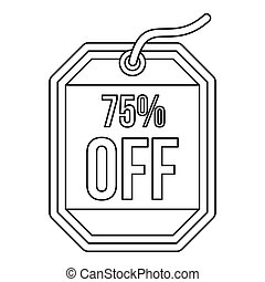 Sale tag 75 percent off icon, outline style - Sale tag 75...