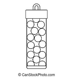 Pack with balls for paintball icon, outline style - Pack...