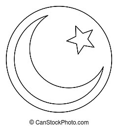 Star and crescent icon, outline style