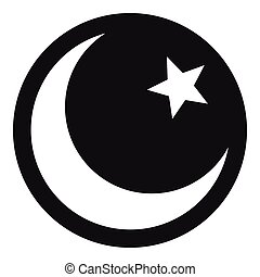 Crescent and star icon, simple style