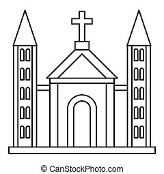 Catholic church building icon, outline style - Catholic...