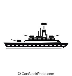 Military warship icon, simple style - Military warship icon...
