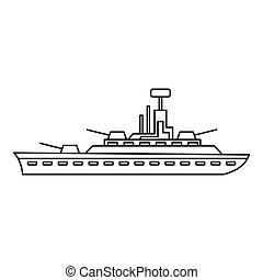 Military warship icon, outline style - Military warship icon...