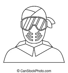 Paintball player in protective mask icon in outline style on...