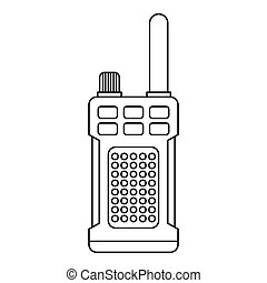 Portable handheld radio icon, outline style - Portable...