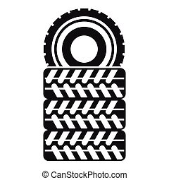 Pile of tires icon, simple style - Pile of tires icon in...