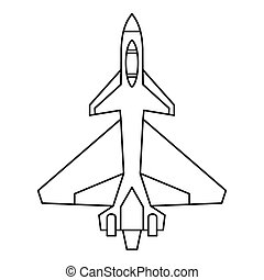 Military fighter jet icon, outline style - Military fighter...