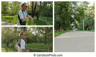 Collage. The man likes to run in the park, for a healthy lifestyle