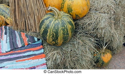 Pumpkins lying in the window for Halloween celebrations -...