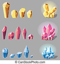 cristals set cartoon - Set of magic crystals or minerals...