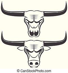 bull s head and skull - Bull s head and skull, line art sign...