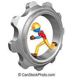 Worker Running In A Gear