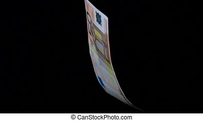 Rotating banknote closeup - Banknote 50 euro denomination is...