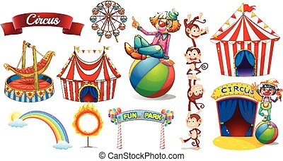Circus set with games and characters