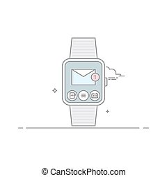 Smart watch. The concept of mobile application interface. Mail client. New unread email. Isolated on white background. The vector in a linear style.