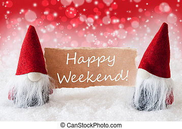 Red Christmassy Gnomes With Card, Text Happy Weekend -...