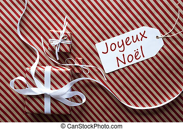 Two Gifts With Label, Joyeux Noel Means Merry Christmas -...