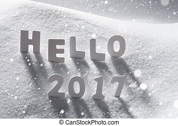 Text Hello 2017 With White Letters In Snow, Snowflakes -...