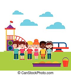beautiful children playground with kids playing vector...