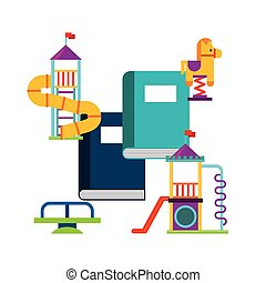 beautiful children playground with books playing vector...