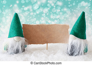 Turqoise Gnomes With Card, Copy Space - Christmas Greeting...