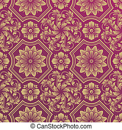 Damask Wallpaper - Seamless Golden Floral Damask Pattern,...