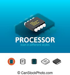 Processor icon in different style - Processor color icon,...