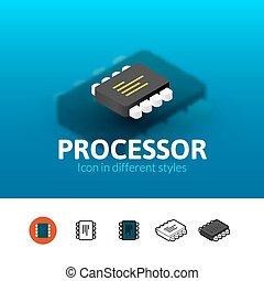 Processor icon in different style - Processor color icon,...