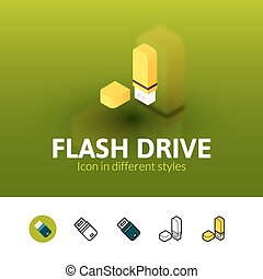 Flash drive icon in different style - Flash drive color...