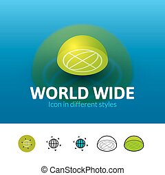 World wide icon in different style