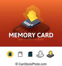Memory card icon in different style - Memory card color...