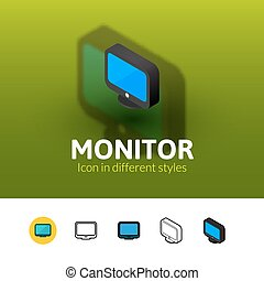 Monitor icon in different style - Monitor color icon, vector...