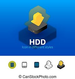 HDD icon in different style - HDD color icon, vector symbol...
