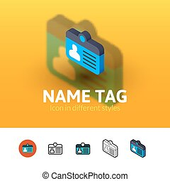 Name tag icon in different style - Name tag color icon,...