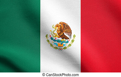 Flag of Mexico waving with fabric texture