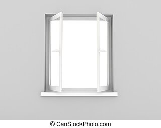 Open window. 3d rendered image