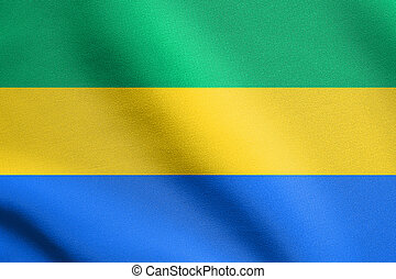 Flag of Gabon waving with fabric texture - Gabonese national...