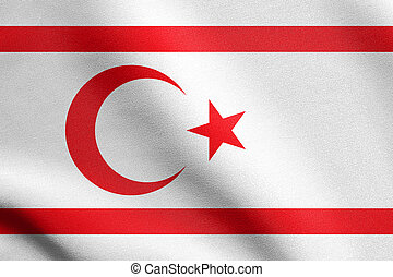 Flag of Northern Cyprus waving with fabric texture -...