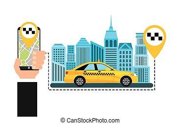 taxi service public transport app technology vector...