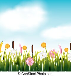 garden flowers and grass field vector illustration design