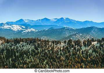 Sierra Nevada mountain range in winter seen from the north...