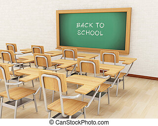 3d Empty classroom and chalkboard with back to school.