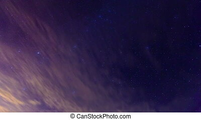 night the starry sky. Night time lapse video. Shooting at...
